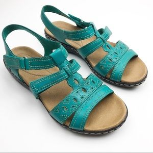 Clarks Leisa Apple Leather Upper 6W Teal Sandal